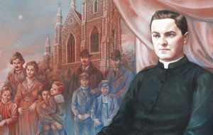 A painting by Italian artist Antonella Cappuccio depicts Venerable Michael McGivney, founder of the Knights of Columbus. In the background are 19th-century Irish immigrants outside St. Mary's Church in New Haven, Conn.